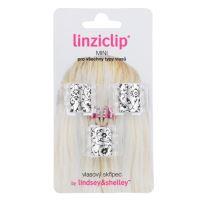 Linziclip Mini Hair Clip - Silver Metallic Floral
