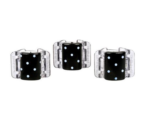 Linziclip Mini Hair Clips - Black With White Polka Dots