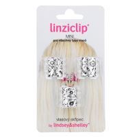 Linziclip Mini Hair Clip - Silver Metallic Floral